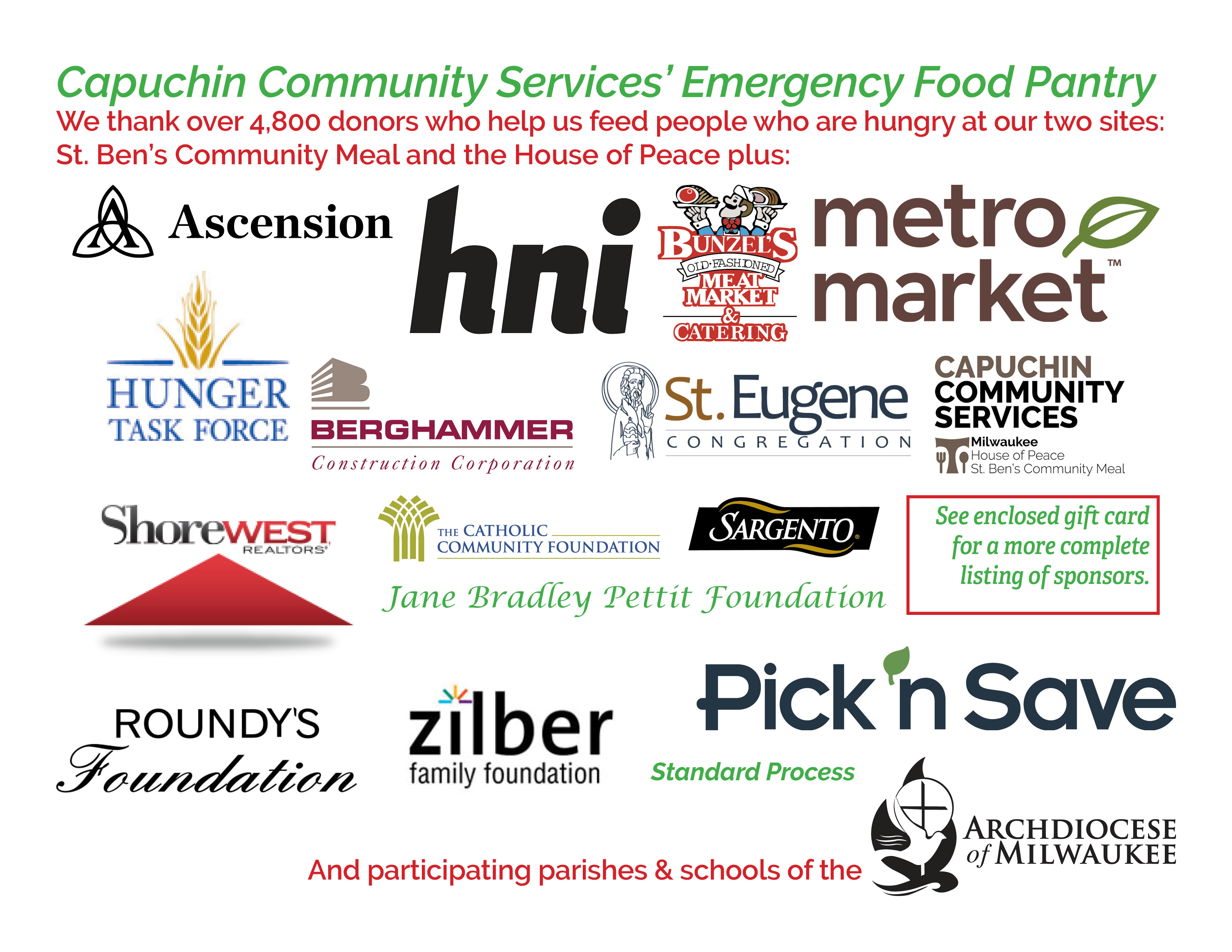 Thank you to the sponsors of the 2019 Capuchin Community Services Holiday Food Box Drive Sponsors